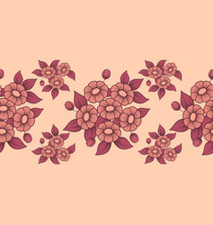 seamless coral flowers brush vector image