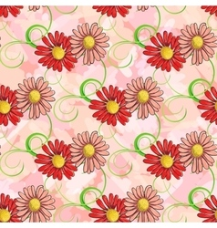 Seamless pattern of colorful chamomile vector