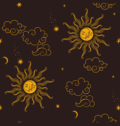 seamless pattern with celestial bodies graphics vector image