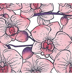 Seamless pattern with hand drawn orchid flowers vector image