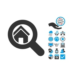 Search House Flat Icon With Bonus vector image vector image