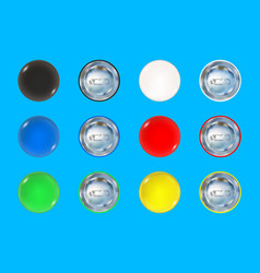 set colored pin button vector image