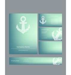 Set of business cards in marine style vector image