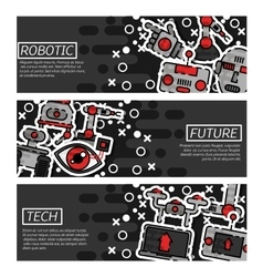 Set of Horizontal Banners about robotic vector image