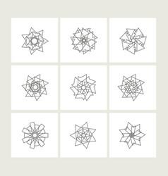 set of minimal geometric monochrome symbol set vector image