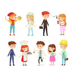 set of young kids boys and vector image