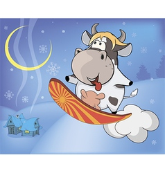 Snowboarding cow cartoon vector image