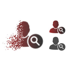 Sparkle dot halftone search user icon vector