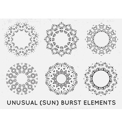 Sun burst vintage shapes collection set of sun ray vector image