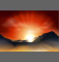 Sunrise or sunset over a mountain range vector