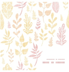 Textile textured fall leaves frame corner pattern vector