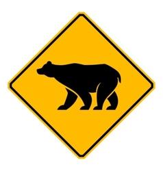 Traffic sign wildlife bear vector