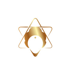 Trans meditation head golden icon vector
