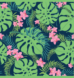 Tropical orchid flowers seamless repeat pattern vector