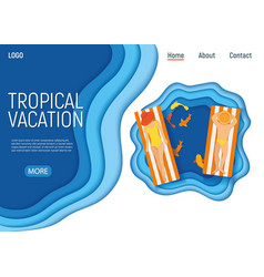 Tropical vacation couple male female characters vector