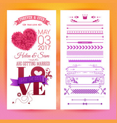 various getting married love stationery objects vector image