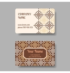 Vintage business cards with floral ornament vector