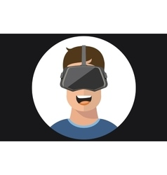Virtual reality VR glasses man flat icons vector