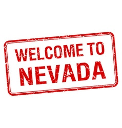 Welcome to Nevada red grunge square stamp vector