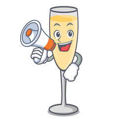 With megaphone champagne character cartoon style vector