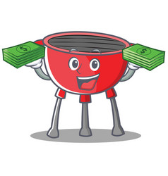 With money barbecue grill cartoon character vector
