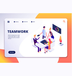Workspace isometric landing page people team work vector