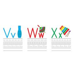 Writing practice letters vwx education for kids vector