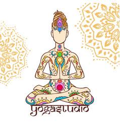 Yoga man with dreadlock ornament beautiful doodle vector