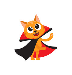 flat cat dressed up like count dracula vector image vector image