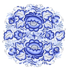 Ornate blue and white floral circle vector image vector image