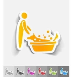 realistic design element bathing dogs vector image