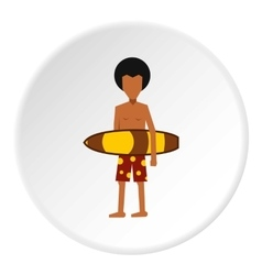 Surfer man icon flat style vector image