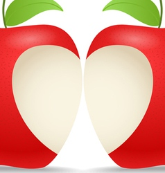 Two apples with abstract heart vector image vector image