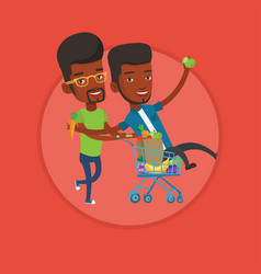 two friends riding by shopping trolley vector image