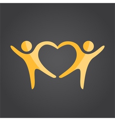 Two people form heart shape vector image vector image