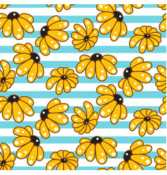 yellow chamomile striped blue seamless pattern vector image vector image