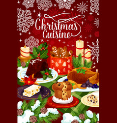 Christmas cuisine winter holiday dinner banner vector