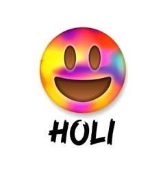 Colorful smiley emoticon indian festival Holi vector image