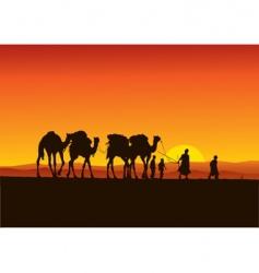desert camel caravan vector image vector image