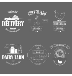 Farm Fresh Products Badge Set vector image
