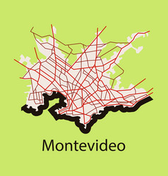 Montevideo flat map outline version ready for vector