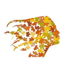 Profile of the girl from the leaves vector image vector image