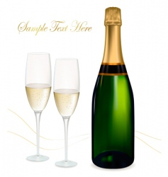 shampagne with glasses vector image vector image