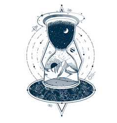 tattoo with an hourglass enclosing the sky vector image