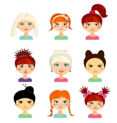 Avatar set with womens of different ethnicity vector image