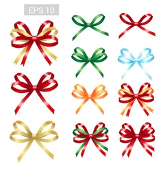 Elegant ribbon tied bows for gift greeting card vector image