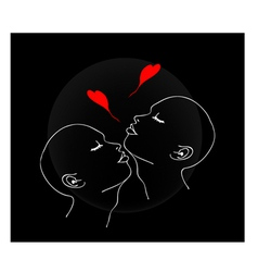 Two People Blowing A Kiss with Red Heart vector image