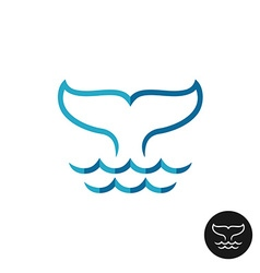 Whale tale logo with ocean waves Blue flat colors vector image vector image