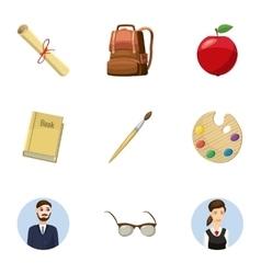 Children education icons set cartoon style vector