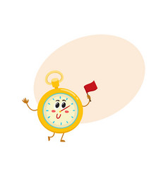 funny stopwatch timer timekeeping character with vector image vector image